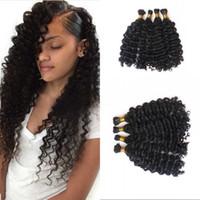 Wholesale wholesale braiding hair free shipping for sale - Deep Wave Bulk Human Braiding Hair Curly Peruvian Natural Color Bulk Hair Bundles FDSHINE