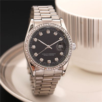 Wholesale Mens Diamond Quartz Watch - top design new arrival fashionable Black face automatic watches mens Alloy metal Gray stainless steel male clocks diamond relogio masculino