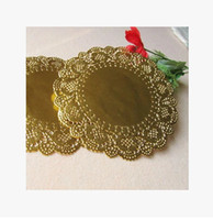 Wholesale Gold Doilies Wholesale - Wholesale New Hot Sale 165mm Gold Round Paper Lace Doilies Placemat Craft Wedding Christmas Tableware Decoration