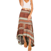 Boho Women Maxi Retro Gonna modello geometrico Stampa Asimmetrica alta vita lunga gonna lunga Casual Beach Holiday gonna pieghettata