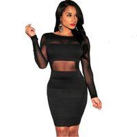 içi boş bandaj patchwork elbisesi toptan satış-XS-XXL Seksi Bandaj Elbise Yeni Kış Siyah Beyaz Elbise Uzun Kollu Örgü Patchwork Hollow Out Kalem Bodycon Elbise Kadın Elbiseler