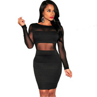 Wholesale Lace Dress Xs - XS-XXL Sexy Bandage Dress New Winter Black White Dress Long Sleeve Mesh Patchwork Hollow Out Pencil Bodycon Dress Female Dresses