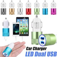 Wholesale Led Light Usb Car Charger - For Samsung USB Car Charger Metal Dual Ports Universal 12 Volt   1 ~ 2 Amp Led Led Light Adapter Chargers For iPhone X 8