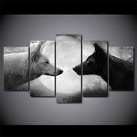 Oil Painting black picture frame set - 5 Set Framed HD Printed Black And White Wolves Picture Custom Canvas Prints Animal Oil Painting Artworks Poster