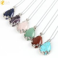 Wholesale water beads for plants - CSJA Flower Special Back Design Water Drop Shape Pendant Necklace for Female Natural Stone Beads Bezel Setting Copper Ketting Jewelry E082 B