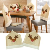 4Pcs / Lot Christmas Elk Chair Covers Cute Deer Chair Cover For Dinner Decor Home Decorations Ornaments Supplies Wholesale