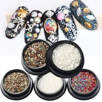 Wholesale Chipping Tips - New Nail Art Decorations 3d Shell Flakes Chips Natural Colorful Rhinestones Manicure Pedicure Accessories Diy Tips Beauty 2017