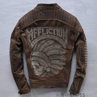 Wholesale Coloured Leather Jackets - 2 colours Affliction genuine leather jackets motorcycle jacket American customs India head Embroidery