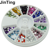 Wholesale Nail Stones Gems - Wholesale- Nail Art Rhinestones decoration 3D Wheel 12 Mix Color Glitter Gems Design stone Round Bling Crystal sticker Nail tools