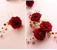 alfiler rosa rojo al por mayor-beijia Rose Red Flower Bridal Hair Comb Pins Hecho A Mano Accesorios de Boda Joyería de Las Mujeres Prom Headpiece