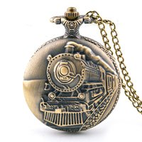 Wholesale Engine Dress - 47MM big dial Bronze retro mens womens necklace chain Train Front Locomotive Engine Pocket Watches fashion students Fob watches