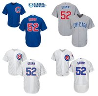 Wholesale Authentic Jersey 52 - Mens Majestic MLB Chicago Cubs Cool Base Alternate Home White Royal Blue Road Grey 52 Justin Grimm Authentic Jersey