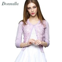 Wholesale wool lace jacket resale online - Fashion woman Sweater Cardigan Seven Sleeve Lace Stitching d Flowers Short Knit Cardigan Jacket Small Shawl Woman Coats Sweaters