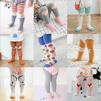 Wholesale Pantyhose Stripe Children - Ins Kids Cute Leggings Stocking Baby Girls Boy Pantyhose Tights Cartoon Animal Print Child Cotton Socks Stripe PP Open-seat Pants