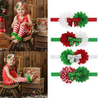 Wholesale Newborn Baby Bow Ties - 10PCS Christmas Style Infant Baby Headbands Tied Bow Girl Hairband Headwear Kids Baby Photography Props NewBorn Baby Hair bands Accessories