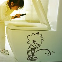 Wholesale Kids Wall Stickers China - Free Shipping China Wholesale Cartoon Kid Toilet decor stickers creative decorative removable bathroom waterproof Vinyl wall stickers