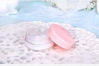 ingrosso vasi campione piccoli-100 pz / lotto 15g vuoto trasparente piccolo tondo espositore di plastica trasparente vaso cosmetico crema balsamo contenitore Mini contenitore per campioni di imballaggio
