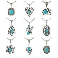 pièces pour colliers achat en gros de-Bon A ++ bijoux de fantaisie personnalisé bracelet de pétales creux à la main turquoise WFN421 (avec chaîne) mélanger ordre 20 pièces beaucoup