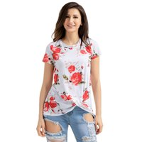 Wholesale Chinese Shirts Women - 2017 Summer New Fashion Plus Size Women Clothing Chinese Retro Style White Floral Short Sleeve Knot Top LC250061 Women Shirts