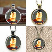 Wholesale Earring Superman - 10pcs Superhero Superman Pendant Necklace keyring bookmark cufflink earring bracelet