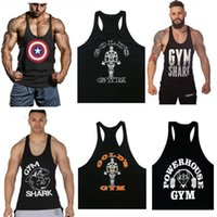 Wholesale Mens Gold Shirts - Wholesale- Golds Stringer Tank Top Men Bodybuilding Clothing and Fitness Mens Sleeveless Shirt Vests Cotton Singlets Muscle Tops