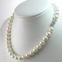 FREE SHIPPING novo Noble jóia fina jóia 8 milímetros AAA + White South Sea Shell Pearl Necklace 18