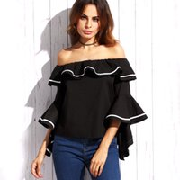 Wholesale Shoulder Free Blouse - free shipping guangzhou mcfs factory chic style black and white off shoulder short sleeve blouse shirts for mature lady