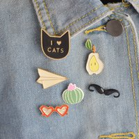 Wholesale Celtic Mustache - Wholesale- Fashion Cute Fruit Love Cat Balloons Paper planes Mustache Love Glasses Button Brooch Set Pins Jewelry For Women Christmas Gift