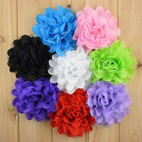 Wholesale Girls Hair Net Band - Foreign hot sell flower girl headband corsage 5 inch fold Chiffon net gauze Flower Hat with hair band hoop kids hair bows 8 color mix order