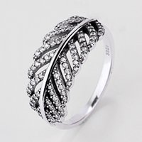 Wholesale Cute Bohemian Jewelry - Authentic 925 Sterling Silver Ring Vintage Cute Pave Feather Cubic With Crystal Ring Compatible With Pandora Jewelry HRA0217