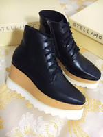 Stella Mcartney Elyse Star Platform Boots Oxford Shoes com Plataforma Preto Couro Branco Sole