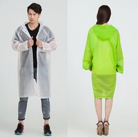 Wholesale Transparent Trench Coat - Raincoat Men Women 'S Trench Coat Long Hooded Rain Coat Poncho Jacket Eva Transparent Chubasqueros Impermeables Mujer ,Green