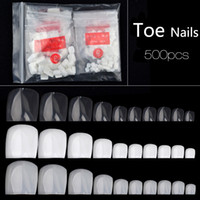 Wholesale Fake Nails Toes - New Fake Toe Nail Tips Professional Pedicure False Toe Nails Transparent Natural White Faux Stickers Full Cover Beauty Gift 2017