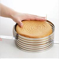 einziehbares kit großhandel-Edelstahl DIY Einstellbare Versenkbare Kreisring Kuchen Layered Slicer Backen Tool Kit Set Mousse Mold Slicing