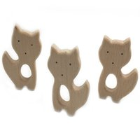Wholesale Cat Baby Rattle - Cat Beads Nursing Necklace Baby Teether Toy Chew Molar Wooden Infant Baby Teething Rattle Organic Montessori Toy Gift