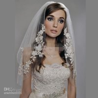 Wholesale Ivory 2t Veil Comb - 2016 Bridal Veil Elbow Length Two layer 2T with comb Lace Appliqued Crystal Vintage Romantic Wedding Hair Accessory real