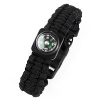 Wholesale Charm Hiking - Outdoor Survival Bracelets 5 in 1 Gear Kits Escape Paracord Bracelet Whistle Compass Scraper for Hiking Camping