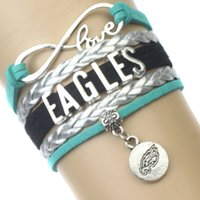 Wholesale Eagle Leather Bracelet - (10 Pieces Lot) High QualityLove Philadelphia Eagles Football Bracelet Green Silver Black Custom Any Styles Themes