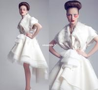 Wholesale Robe Empire Nude - 2017 New Fashion Formal Dresses White Hi-Lo Short Sleeve Applique Bow Satin Organza Short Evening Dresses Robe De Soiree