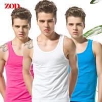 Wholesale Harness Tank - Wholesale- New ZOD summer men's tank top cotton sold vest bottoming Slim sleeveless vest harness vest undershirt 7 colors
