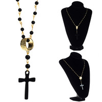 Wholesale Gold Rosary Beads Necklace Men - 10Pcs Men Max Chain Gold Plated Black Beads Chain Crown Rosary Jesus Christ Cross Pendant Long Necklace Statement Jewelry