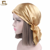 Wholesale Adult Satin Night - New Women Silk Satin Night Sleeping Cap For Long Hair Bonnet Hat Smooth Soft Chemo Cap Headwear For Cancer Patients Turban