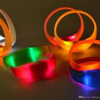 Wholesale Finger Bangles - 7 Color Sound Control Led Flashing Bracelet Light Up Bangle Wristband Music Activated Night light Club Activity Party Bar Disco Cheer toy