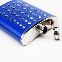 8oz Portable Rivent Hip Flask Drink Bottle Licor Whisky Alcohol Acero inoxidable Screw Cap con Sin Embudo 8 Oz Pink Blue