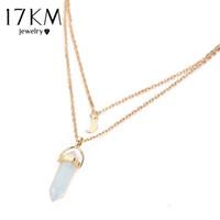 Wholesale Multi Pendants Necklace - 17KM Opal Stone Moon Choker Necklaces Vintage 2017 New Fashion Multi Color Pendant Quartz Necklace for Women Boho Jewelry