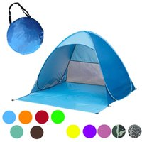 Wholesale Single Person Beach Tent - Multi Colors Fast Automatic Opening Beach tent SunShelter light weight POP UP open UV Protective tent Picnic Hiking fishing tent