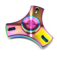 New Colorful Fidget Toys Tri Rainbow Spinners CNC Cutout EDC Decompression Brinquedos para crianças Adultos Customized Bearing Metal Brass Gyro