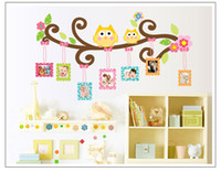 Owl Photo Frame Plane Wall Sticker Removable Cartoon Pvc Quarto dos miúdos Fundo do quarto Decorative Art Decals Home Decorações