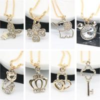 Wholesale Elephant Necklace Rhinestone - Fashion Women Short Necklace Elephant Key Crown Cat Gold Plated Rhinestone Pendant Necklaces Gold Chain Necklaces
