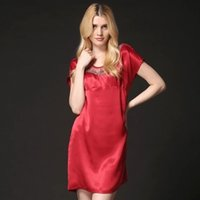5d3a18550e 100% nature mulberry silk stain Sexy Women Ladies Embroidery Lace Round  neck Sling Slit Nightdress Slip Sleepwear short Sleeves Pajama